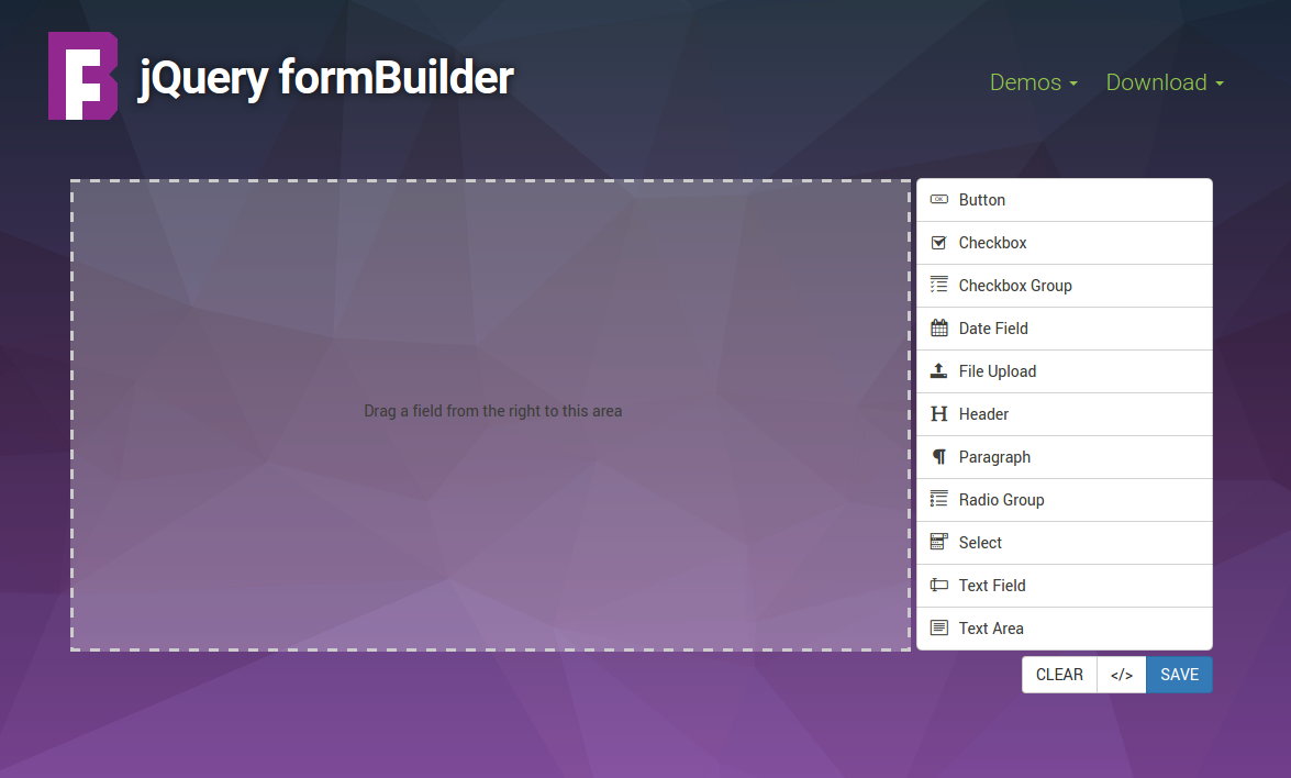 jQuery formBuilder | Drag & Drop Form Creation